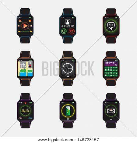 Smart watch signs set. Smart watch with application logo. Smart watch vector illustration. Vector eps10 icon. Isolated smart watch symbols.