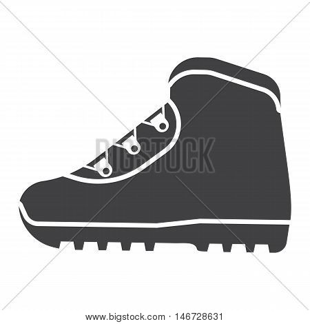 Tourist hiking shoe icon. Trekking boots vector. Outdoor activity boots isolated on white background
