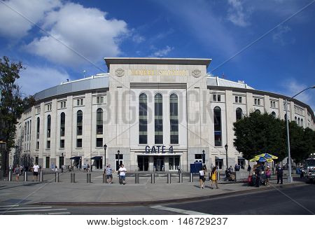 BRONX NEW YORK - AUGUST 21: Yankee Stadium front entrance in summer. Taken August 21 2015 in New York.