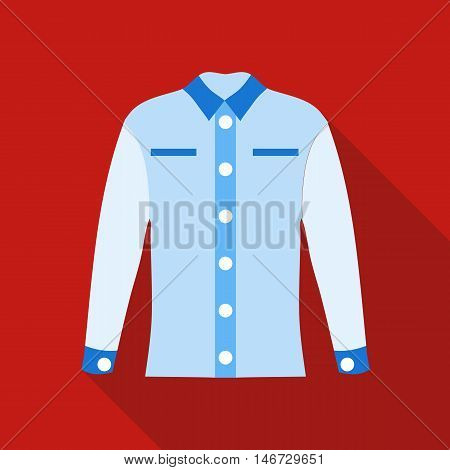 Blue female blouse icon in flat style isolated with long shadow vector illustration