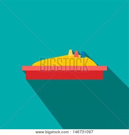 Sandbox icon in flat style isolated with long shadow vector illustration
