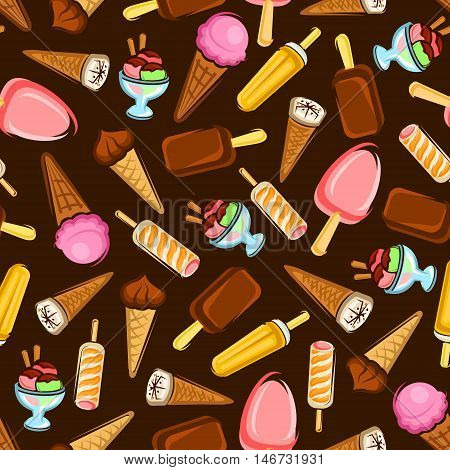Ice cream desserts seamless pattern with strawberry and chocolate ice cream cone and stick, fruity popsicle and sundae desserts on brown background. Dessert menu design