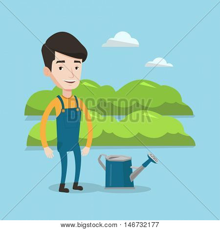 A happy farmer standing near a watering can on the background of agricultural field with green bushes. Man watering plants in garden. Vector flat design illustration. Square layout.