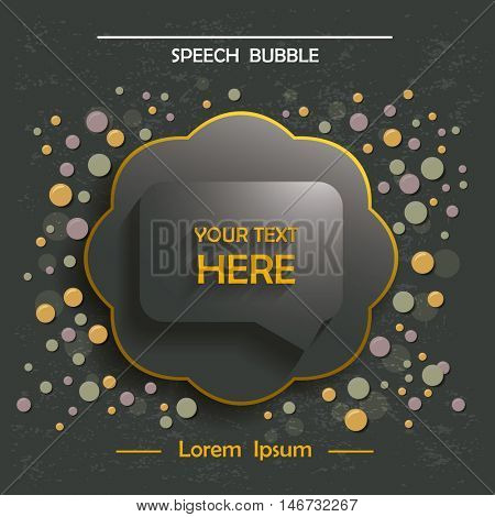 Info speech bubble in a frame . Design template for you text.