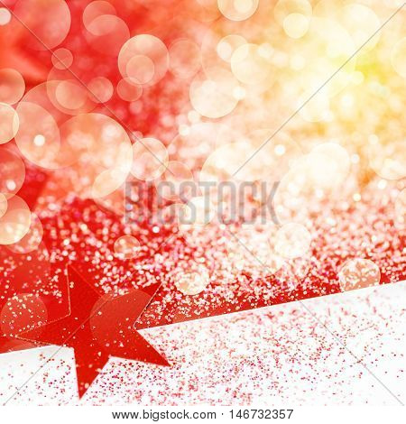 Chrismas Snining Background With Red Stars