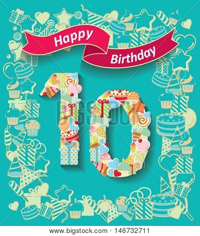 Card invitation with number and ribbon. Happy Birthday 10 year