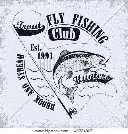 Fishing club emblem, Spinning for fly fishing and jumping trout, grunge monochrome  print,  vintage label, graphic design with grunge effect, fishing club tee shirt print stamp design, vector