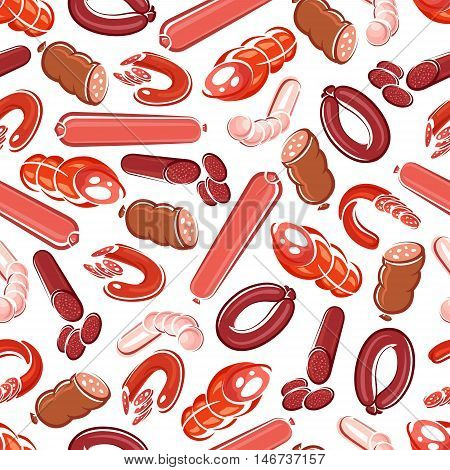 Fresh meat sausage, salami, frankfurter, pepperoni, chorizo, bologna and blood sausage seamless pattern. Meat products background for butcher shop design