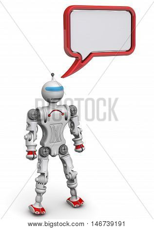 Humanoid robot with the dialog cloud. Isolated. 3D Illustration