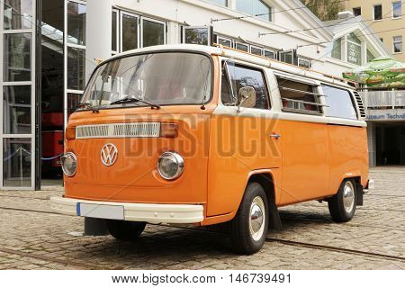 SZCZECIN, POLAND - September 6, 2016: German VW Camper van on parking place