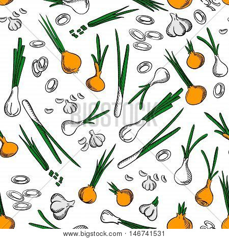 Fresh onion and garlic vegetables seamless pattern on white background with raw onion ring, sliced green leaves, peeled garlic cloves and scallion vegetables