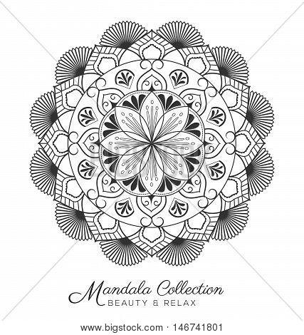 Tibetan mandala decorative ornament design for coloring page greeting card invitation tattoo yoga and spa symbol. Vector illustration