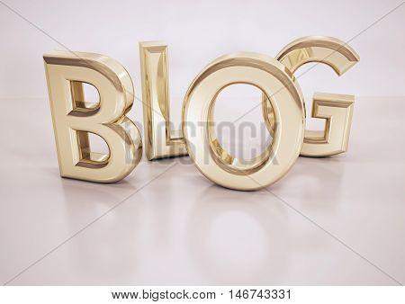 Glossy three-dimensional inscription Blog on dimensional background. 3D illustration.
