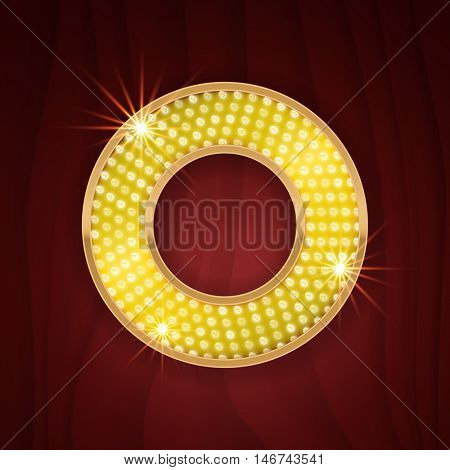 Gold light lamp bulb letter O. Sparkling glitter shine alphabet for light board. Burlesque show style letter design