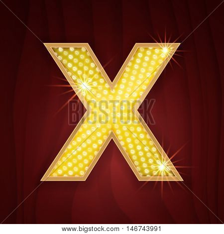 Gold light lamp bulb letter X. Luxury sparkling glitter shine alphabet for light board. Shining golden alphabet letter