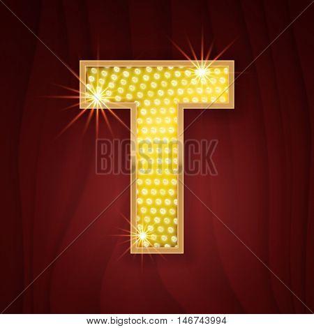 Gold light lamp bulb letter T. Sparkling lightning glittering alphabet. Rich glitz stylish glowing shining golden alphabet letter