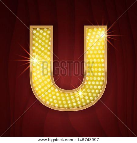Gold light lamp bulb letter U. Glamorous nightclub decoration letter design. Sparkling glitter shine alphabet set
