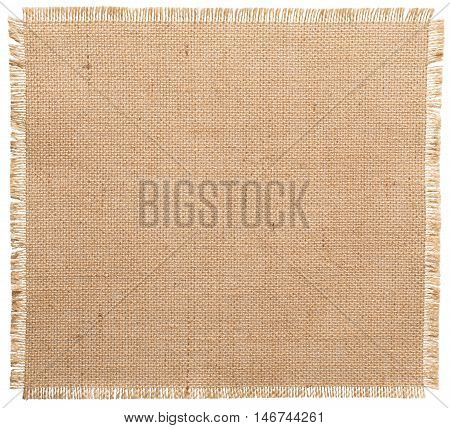 Burlap Fabric Torn Edges Sack Cloth Pattern Isolated over White