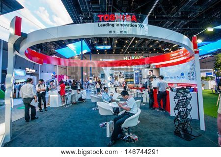 SHANGHAI CHINA - SEPTEMBER 2 2016: Booth of Toshiba company at Connect 2016 information technology conference and exhibition in Shanghai China on September 2 2016.