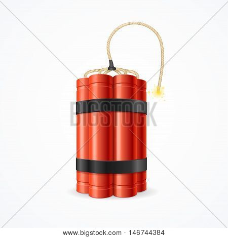 Detonate Dynamite Bomb. Symbol of Terror and Danger. Vector illustration