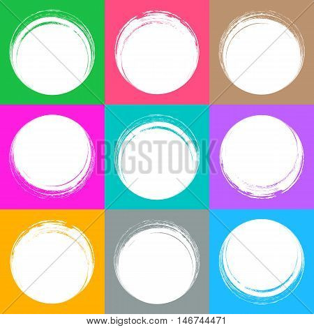 Colorful brush strokes circle buttons web design collection