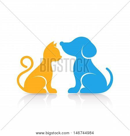 Colorful cute cat and dog silhouettes with reflection