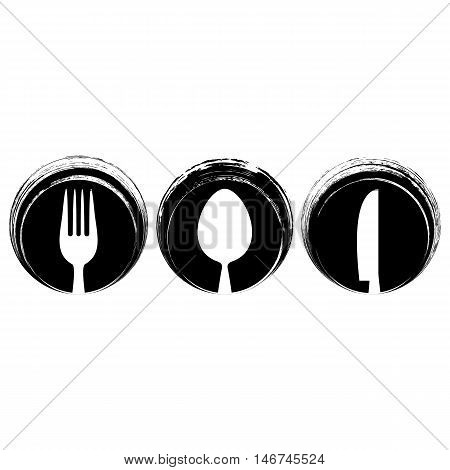 Black abstract restaurant menu design with cutlery signs