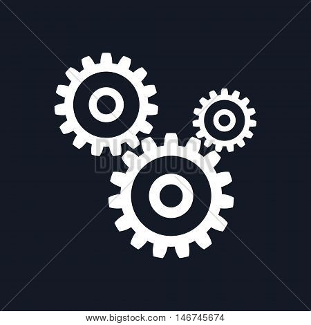 Gears Isolated on Black Background, Teamwork, Joint Effort ,Team Effort, Vector Illustration