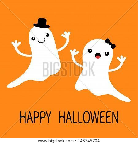 Funny flying baby boy girl ghost with black hat and bow. Smiling face. Happy Halloween. Greeting card. Cute cartoon character. Scary spirit. Kids collection. Orange background. Flat design. Vector