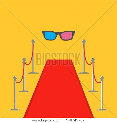 Red carpet and rope barrier golden stanchions turnstile 3D glasses. Isolated template Yellow background. Flat design Vector illustration