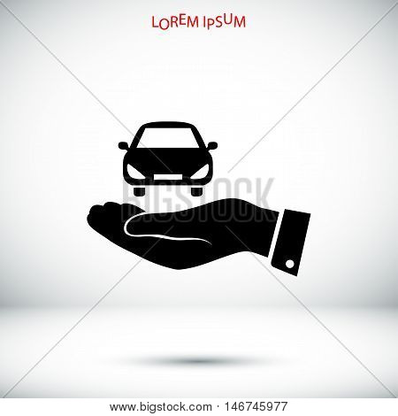 Pictograph Of Car Icon In Hand
