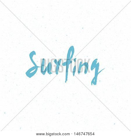 Surfing Logo. Surfing Calligraphy. Handwritten Word. Surf Typography, T-shirt Graphics. Vector Illus