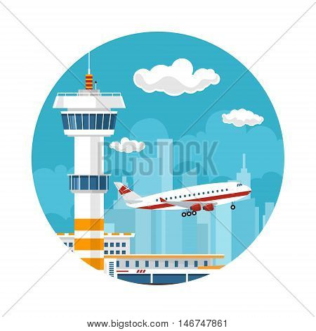 Icon Airplane Takes Off from the Airport, Control Tower and Airplane on the Background of the City, Travel and Tourism Concept , Air Travel and Transportation, Vector Illustration