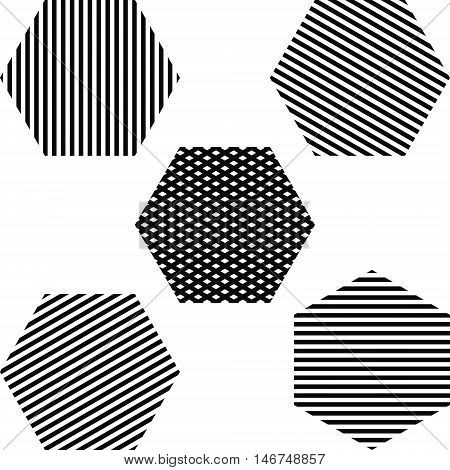 Striped hexagon set, the lines located at different angles vector illustration for print or website design