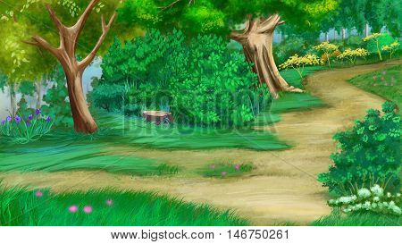 Trees Flowers and Old Stump Near a Footpath in a Green Summer Forest. Digital Painting Background Illustration in cartoon style character.