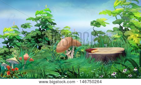 Forest Glade with Big Stump and Mushrooms in a Summer Day. Digital Painting Background Illustration in cartoon style character.