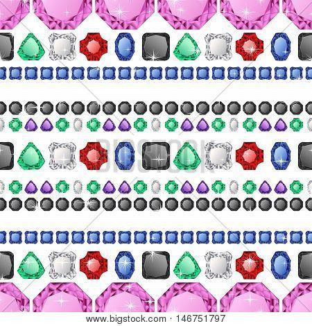 Diamonds seamless pattern. Vector illustration jewerly. Abstract diamond vector background. Jem seamless pattern. Ruby sapphire and emerald vector. Seamless background, brilliant jewels