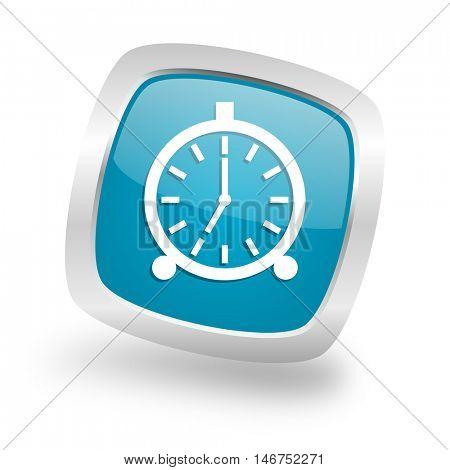 alarm square glossy chrome silver metallic web icon