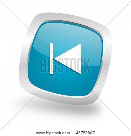 prev square glossy chrome silver metallic web icon