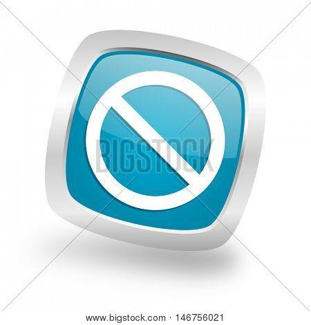 access denied square glossy chrome silver metallic web icon