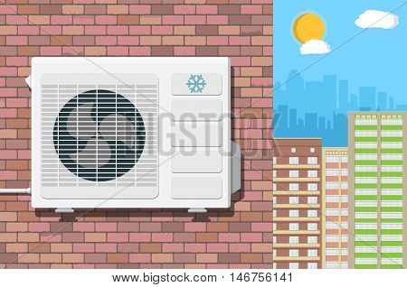 Air conditioning external unit on the wall of red brick building. cityscape as background. vector illustration in flat style