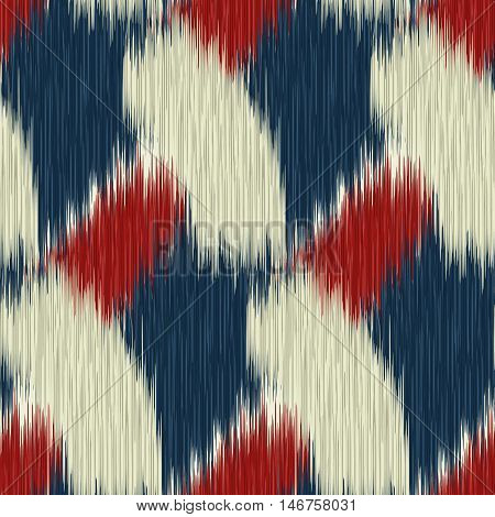 Seamless Ikat Pattern with a geometrical ornament. Abstract background for textile design wallpaper surface textures wrapping paper.