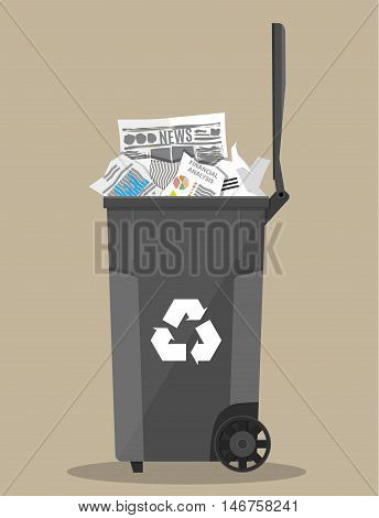 trash recycle bin container for garbage full of paper. Bin for papers. Vector illustration in flat design