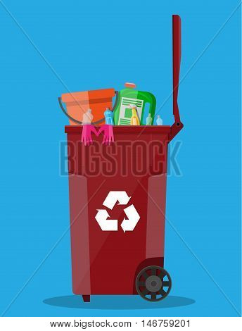 trash recycle bin container for garbage full of plastic and rubber things. Bin for plastic and rubber. Vector illustration in flat design