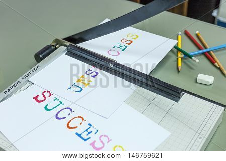 Cutting unsuccess for success target and pencil