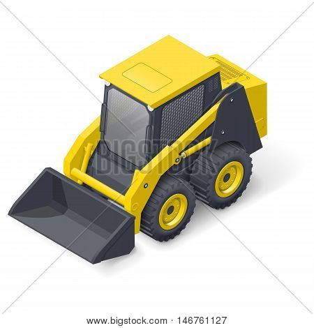 Skid steer mini loader detailed isometric icon vector graphic illustration