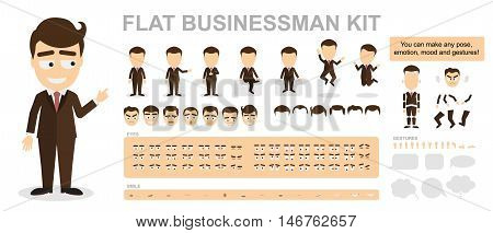 Flat businessman kit. You can make any pose, mood and gestures. Funny cartoon office worker. Creating avatar with construction.
