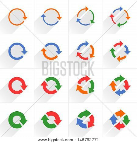 16 arrow flat icon with gray long shadow. Orange blue red green signs on white background. Clean simple minimal solid plain style. Vector illustration web design element save in 8 eps