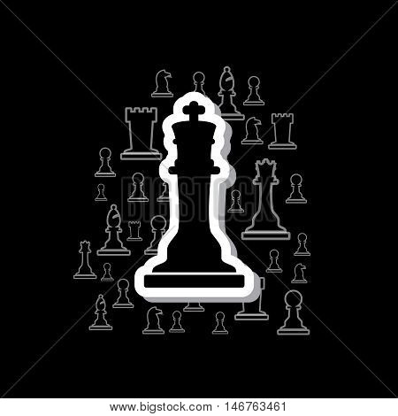 Set Of Black And White Outline Chess Pieces In Cloud On Dark Background Eps10