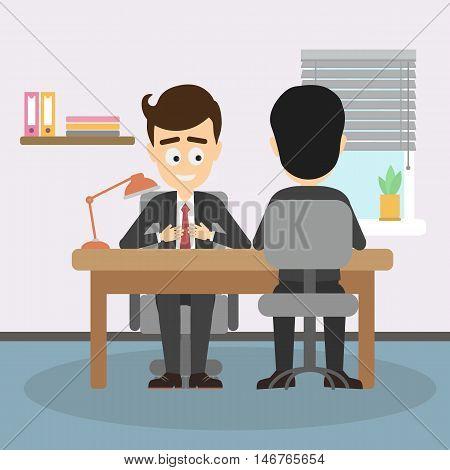 Businessman job interview. Boss interviewing new staff, findinf new office worker. Teambuilding and recruitment.